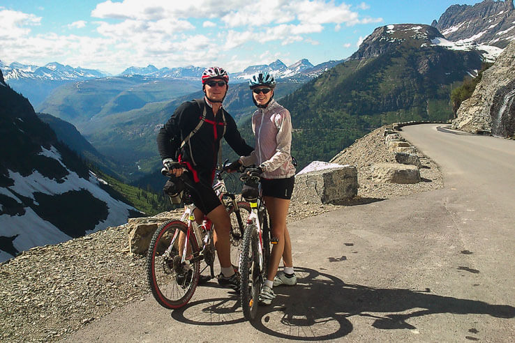 Biking the Going to the Sun Road in Glacier national park, Montana