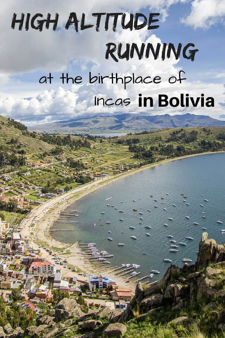 High altitude running at the birthplace of Incas, Lake Titicaca, Bolivia