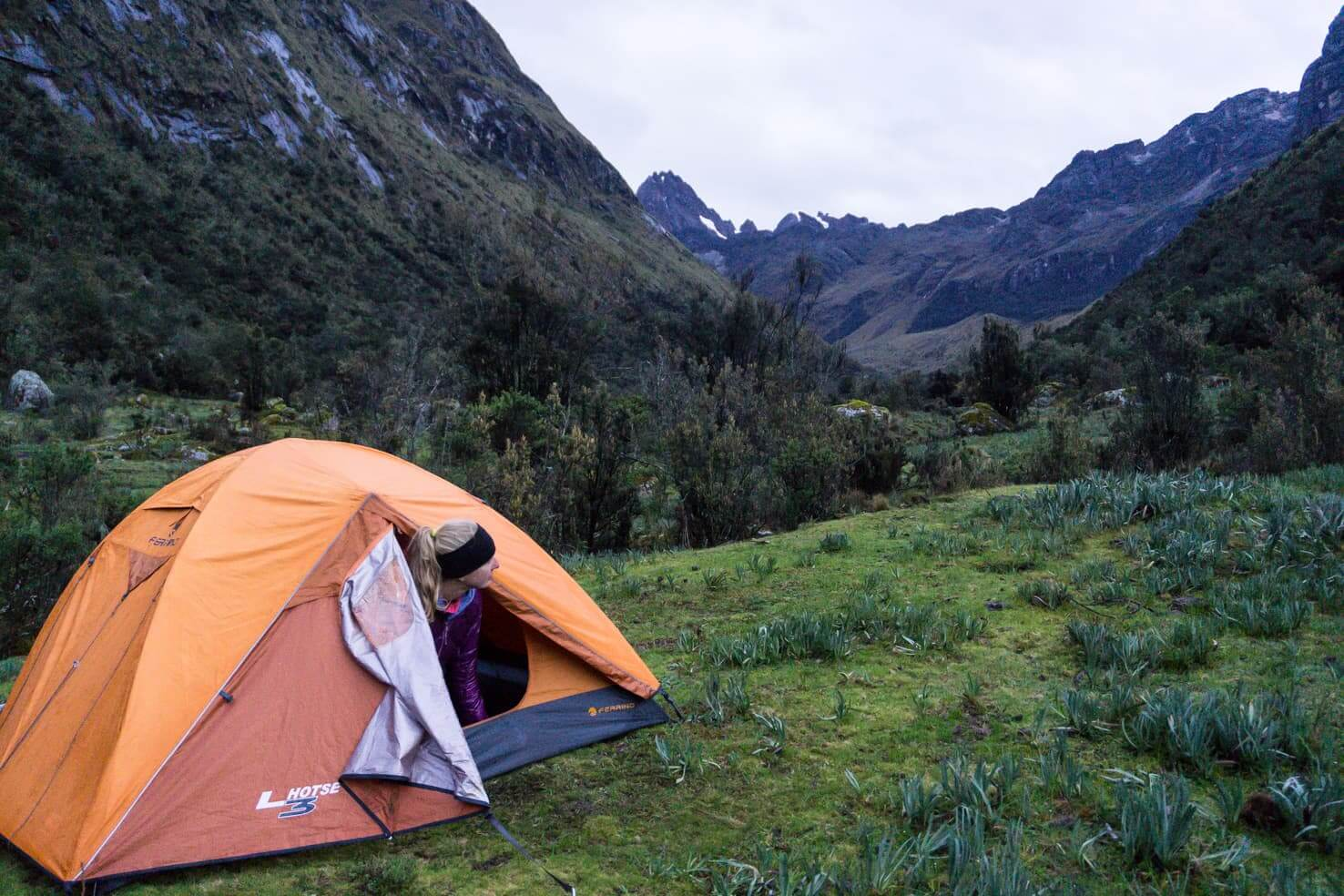 Trekking in high altitudes of Santa Cruz trek, Peru