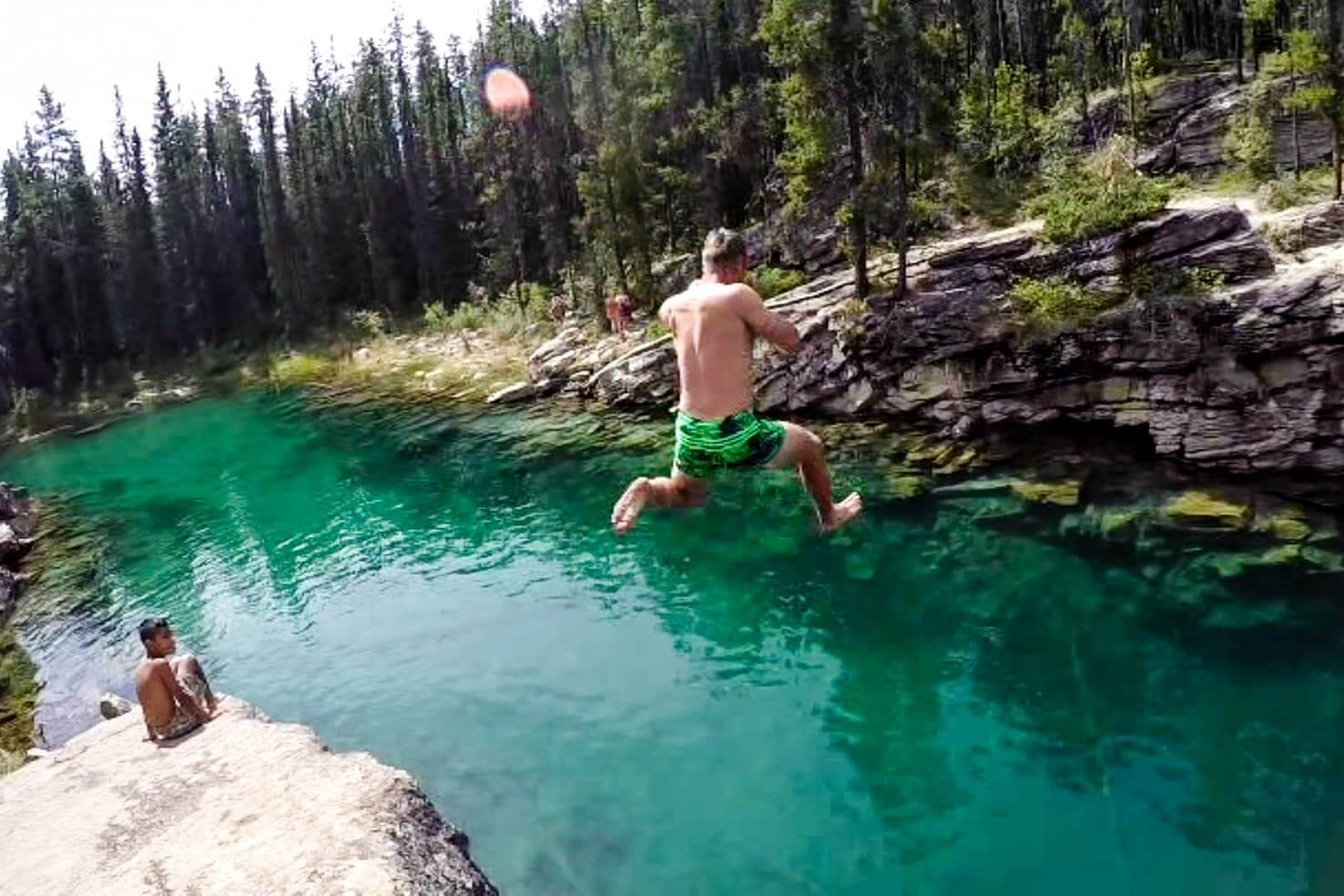 100 best things to do in Banff National Park, Canada - Cliff jump to the Horseshoe Lake