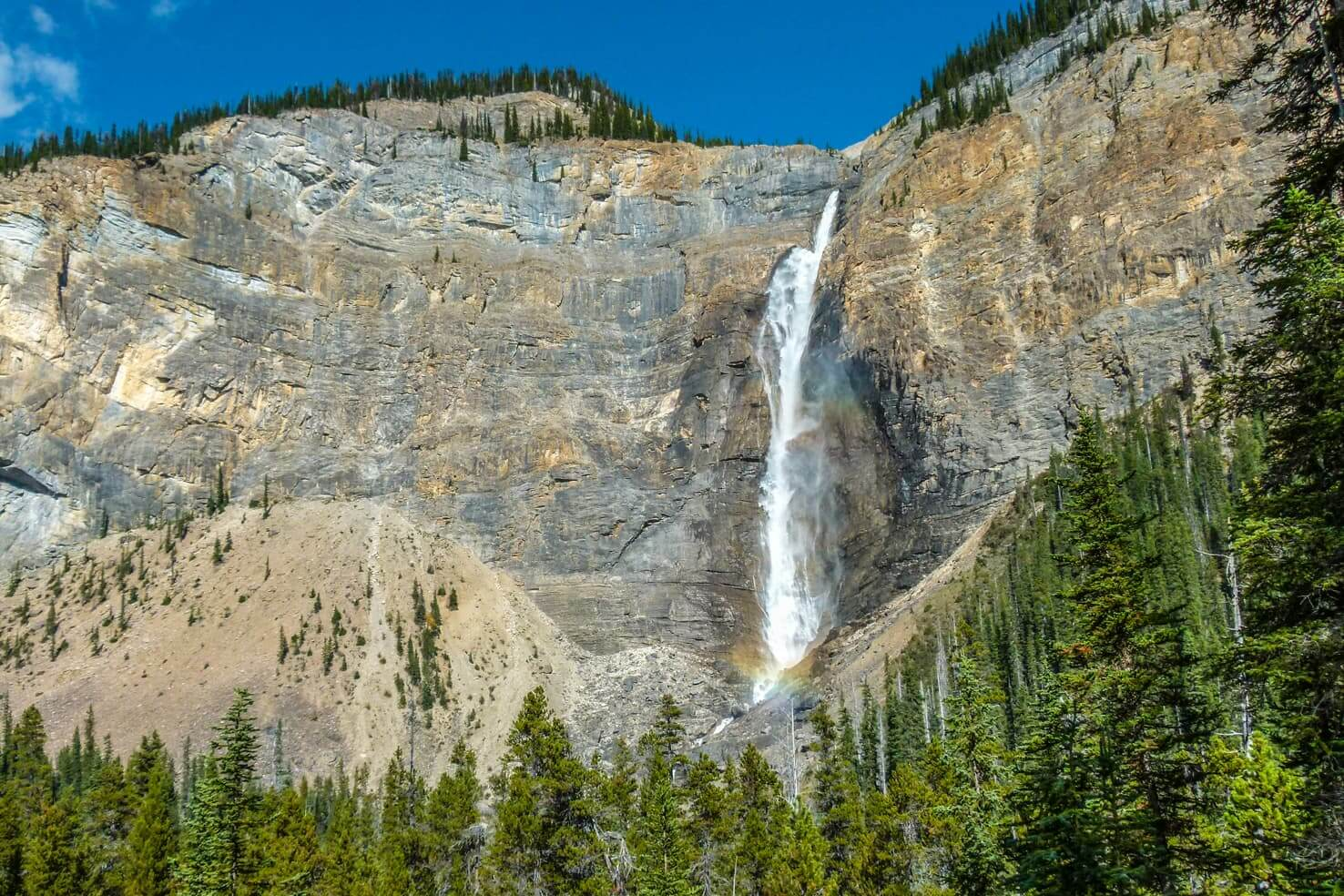 100 best things to do in Banff National Park, Canada - Spot rainbow under Takakkaw Falls
