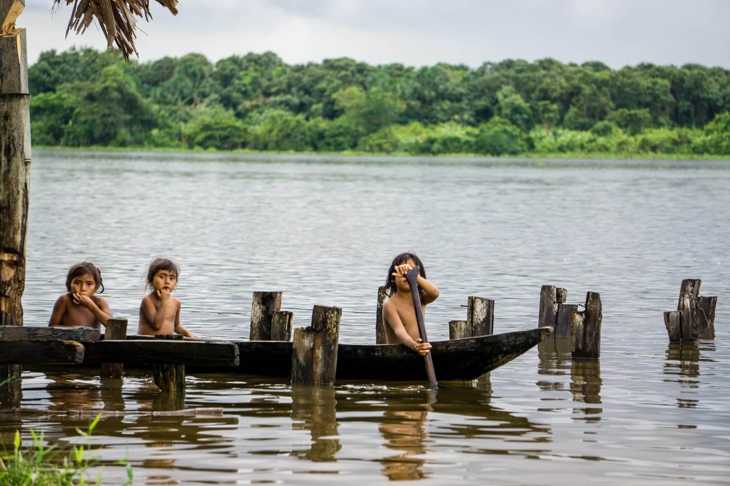 Daily life of Warao Indians in Venezuelan jungle