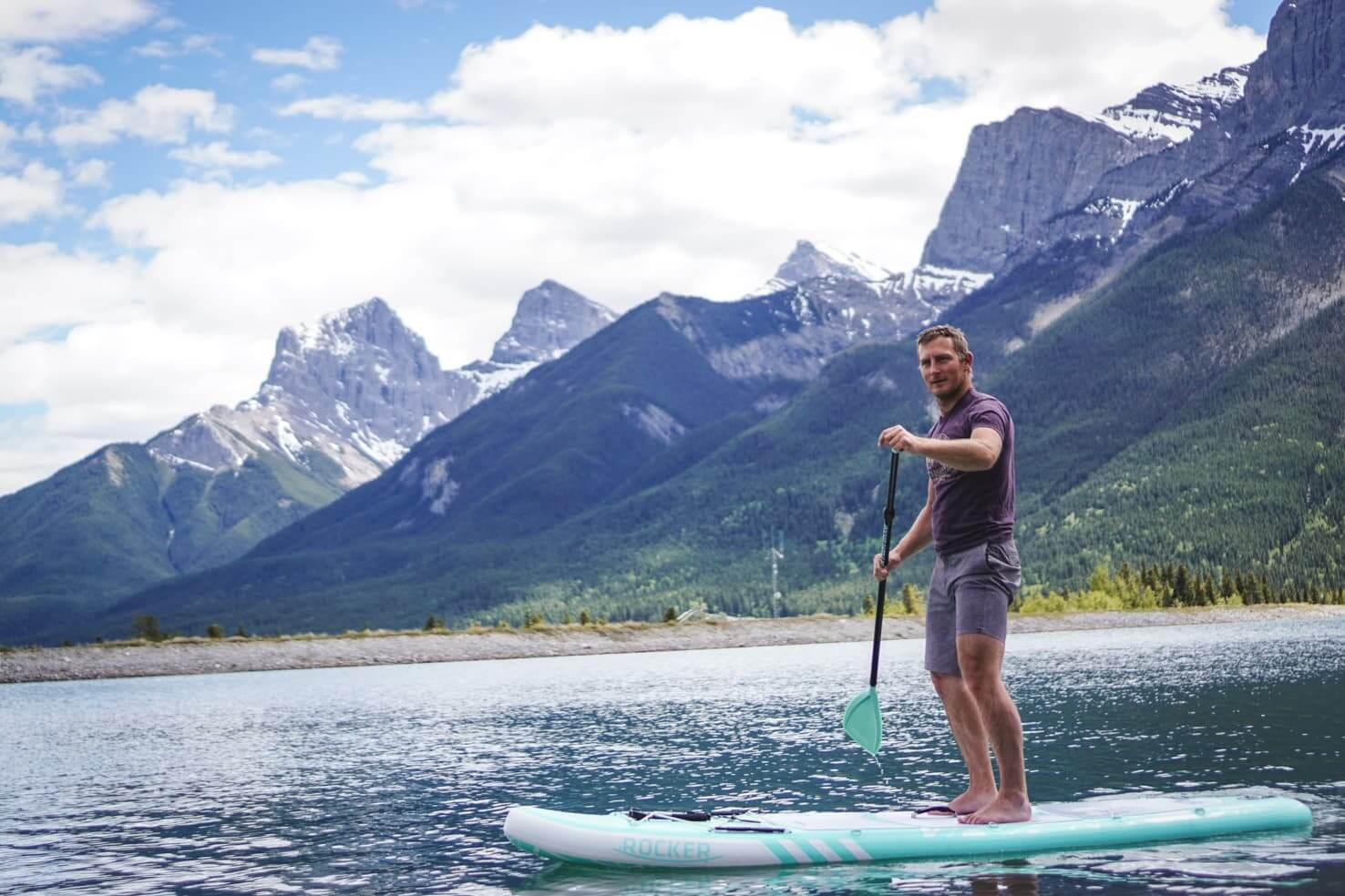 20 things to do in Canmore - stand up paddleboard on Rundle Forebay