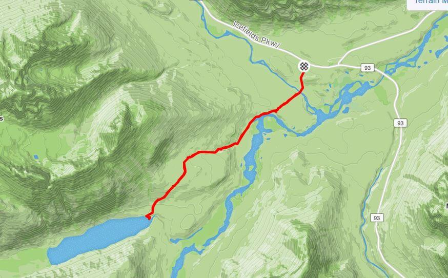 Glacier Lake, Banff - GPS route