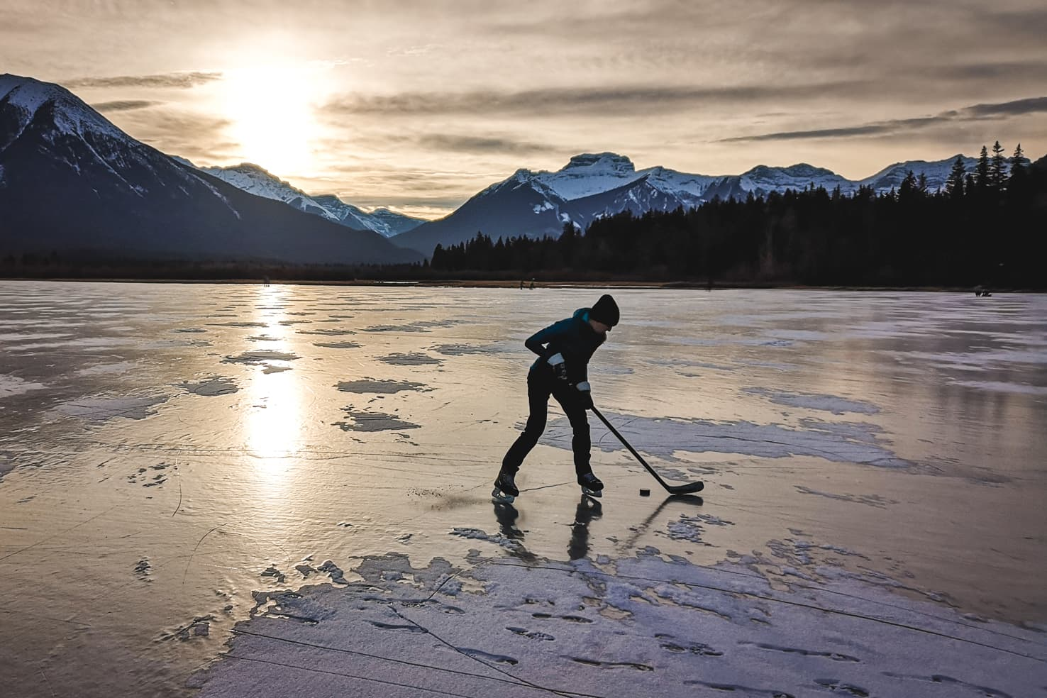 Things to do in Jasper National Park - 41 Play ice hockey on a frozen lake