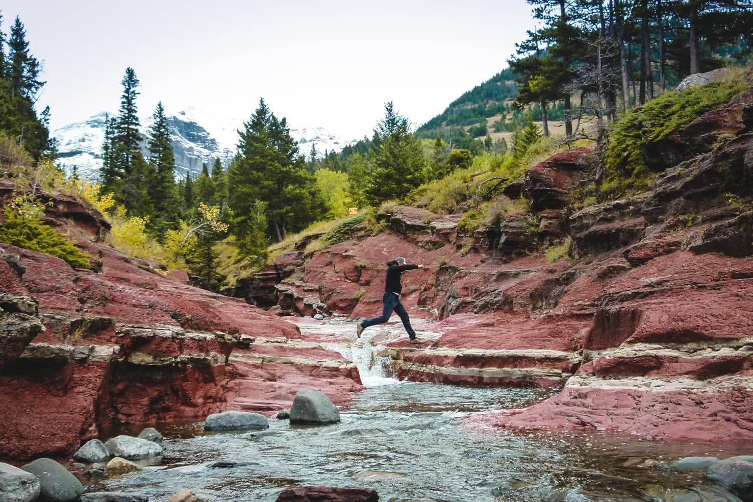 Canadian Rockies road trip itinerary - Red Rock Canyon in Waterton Lakes National Park