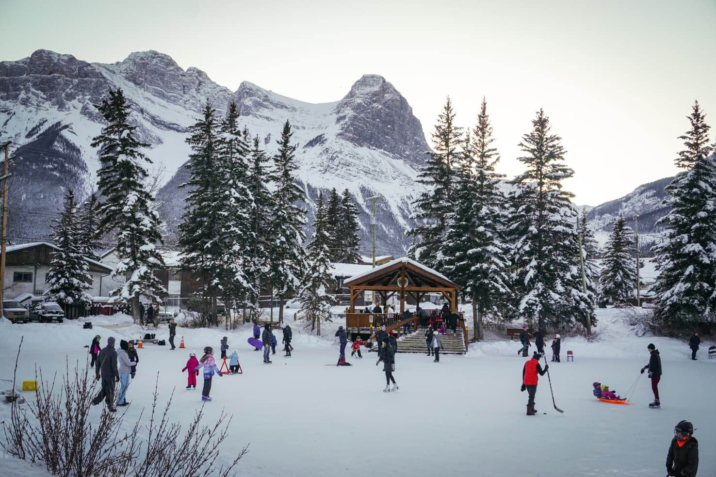 Ice skating in Canmore
