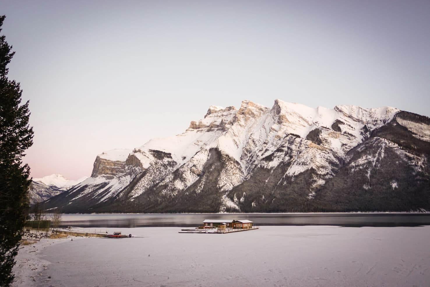 Ice skating in Banff National Park - Lake Minnewanka 2019