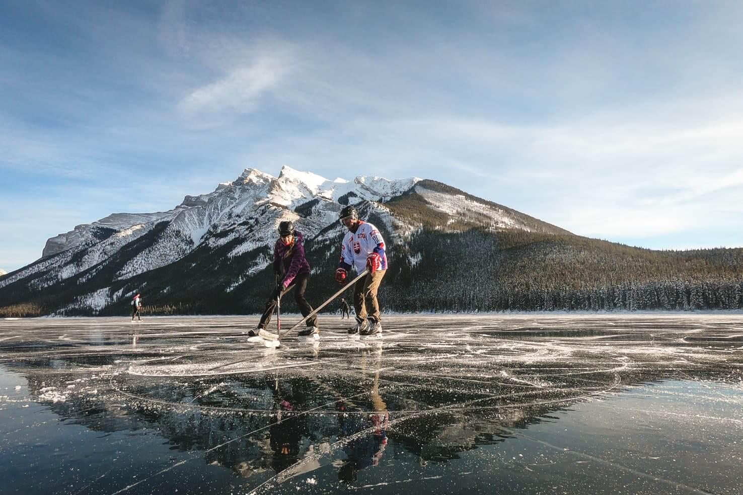 Ice skating in Banff National Park - Lake Minnewanka