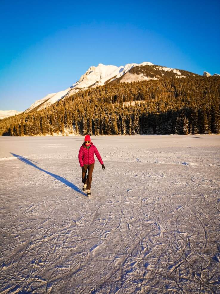 Ice skating in Banff National Park - Two Jack Lake