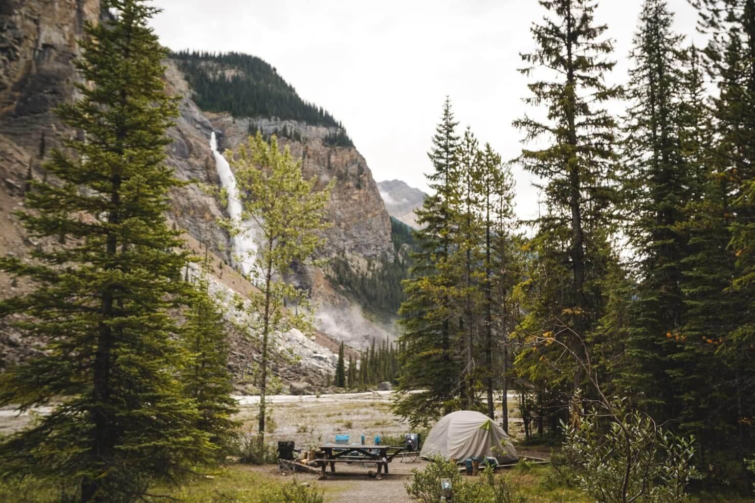 Camping in Yoho National Park - Takakkaw Falls