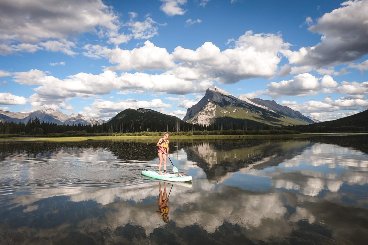 Banff on a budget - stand up paddleboarding on Vermilion Lakes