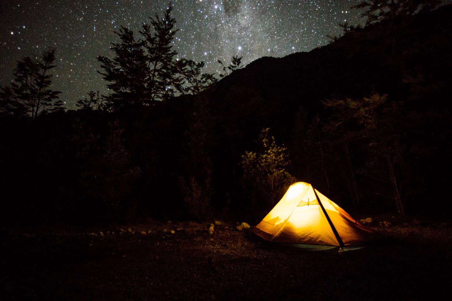 Camping under the stars in Queulat National Park, Chile