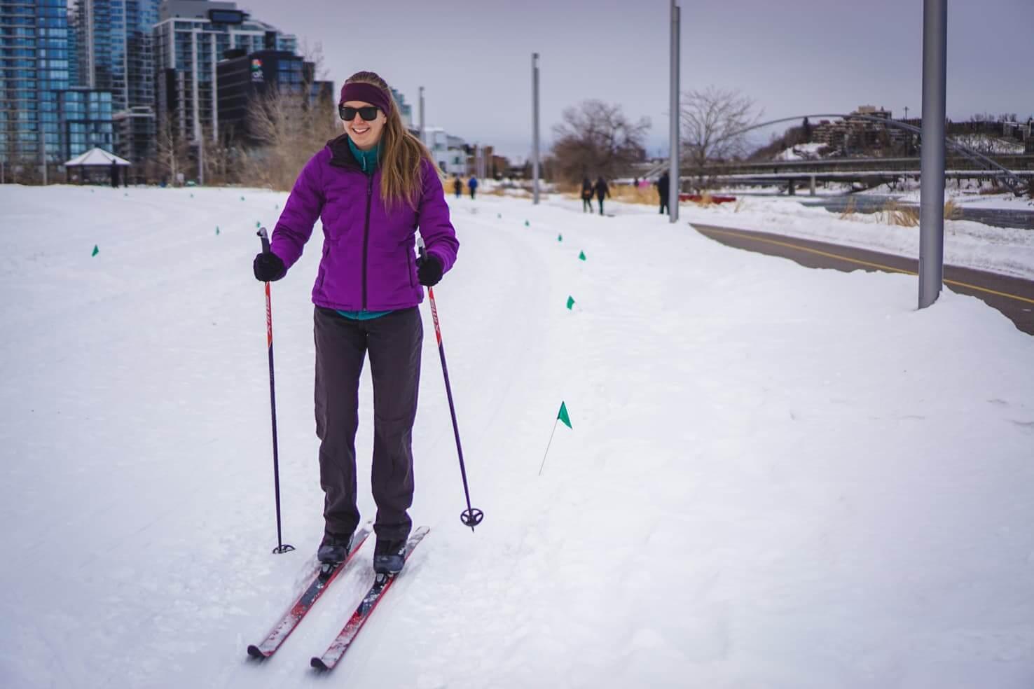 Cross country skiing at East Village Nordic Loop, Calgary