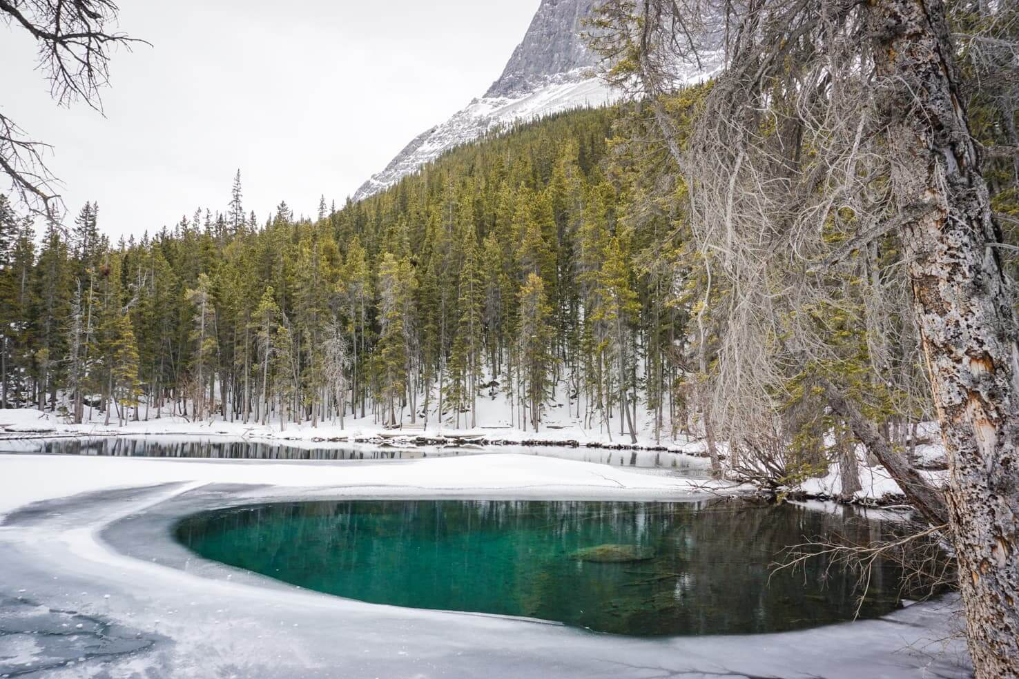 Grassi Lakes Hike in winter