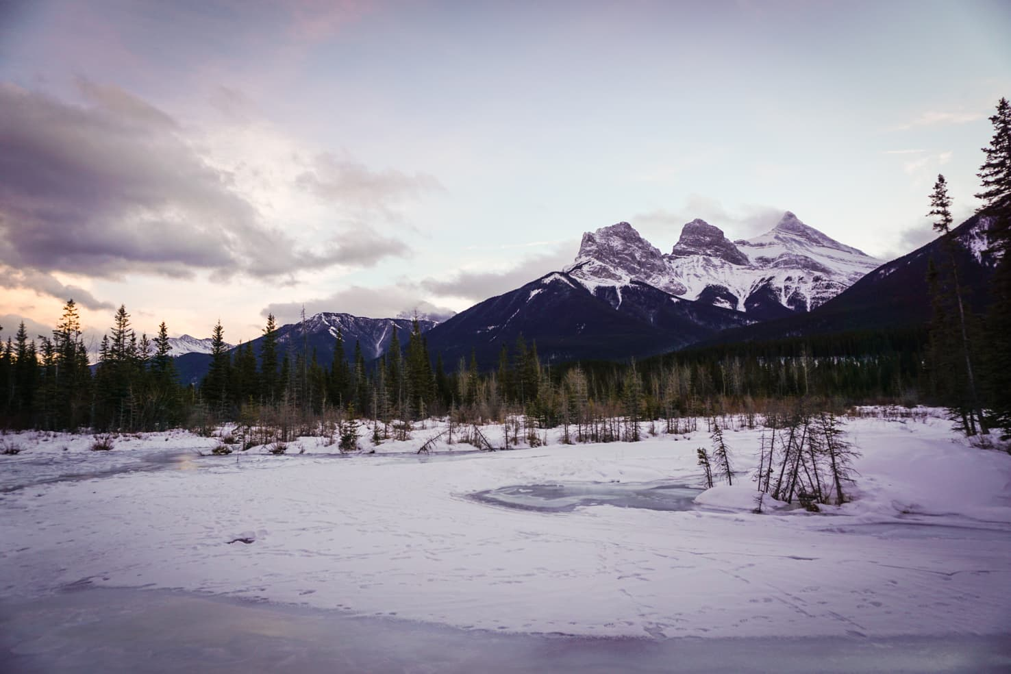 Three Sisters in Canmore in winter